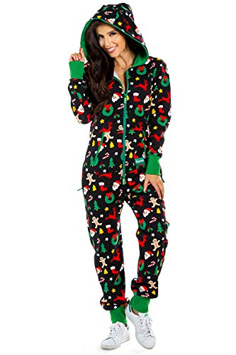 Women's Black Holiday Cookie Cutter Adult Jumpsuit - Christmas Onesie Pajamas: Small