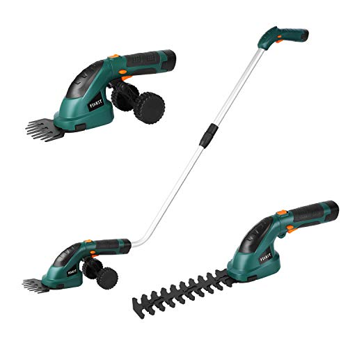 Fixkit 7.2V 2 in 1 Cordless Grass and Hedge Trimmer, 2 Interchangeable Blades, Telescopic Handle & Trolley Wheel Attachments