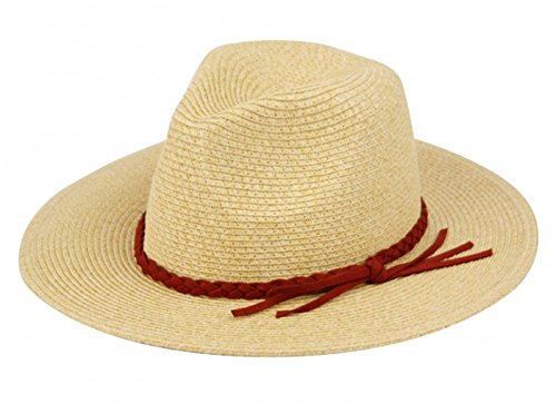[classic Panama style Fedora With Unique Braided Band - Drawstring Adujstable Sweat Band for the Perfect Fit - One Size Fits most -] (Sailor Straw Hat)