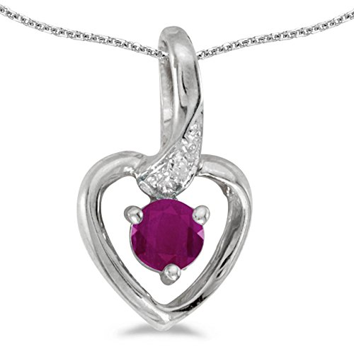 FB Jewels Solid 10k White Gold Genuine Birthstone Round Ruby And Diamond Heart Pendant (1/4 Cttw.)