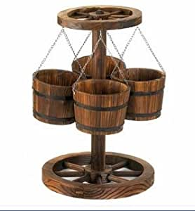 SKB Family Wagon Wheel Planter Rustic country plants realistic antique wood metal