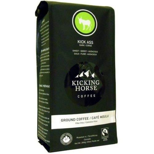 Kicking Horse Kick Ass Dark Roast Ground Coffee, 10 Ounce -- 6 per case.