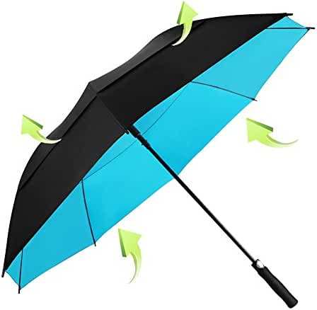 Koler Golf Umbrella Windproof 62 Inch Oversized Double Vented Canopy Auto Open Waterproof & Sunproof Extra large Stick Umbrellas
