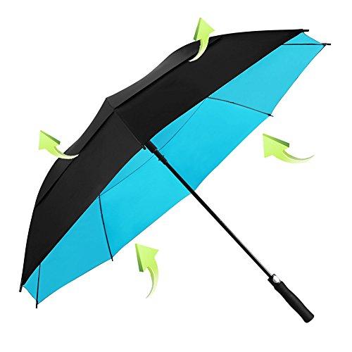Golf Stick Umbrella - Koler Golf Umbrella Windproof 62 Inch Oversized Double Vented Canopy Auto Open Waterproof & Sunproof Extra large Stick Umbrellas - Black/Blue