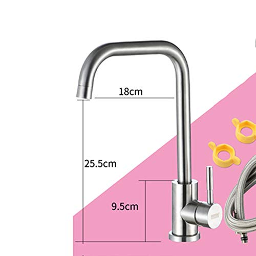 UNKB Kitchen Faucet Single Cold Basin Wash Basin Rotate Sink 360° 304 Stainless Steel Kitchen Faucet Hot and Cold Lead Free Removable Filter Bubbler Sprayer (Design : B)