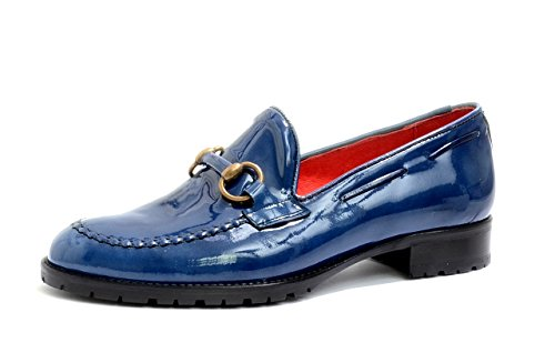 VITELO Ladies Loafers in Black and Blue Patent Leather with Horse bit trim (L 3) Blue Patent PpK9V