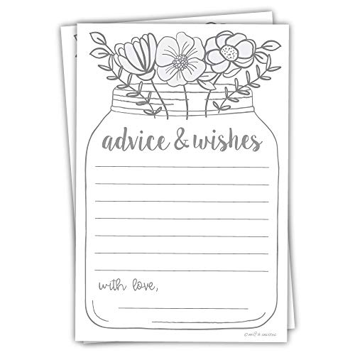 (Floral Mason Jar Advice and Wishes Cards (50 Pack) Any Occasion - Bridal Shower, Bride and Groom at Wedding, Baby Shower)