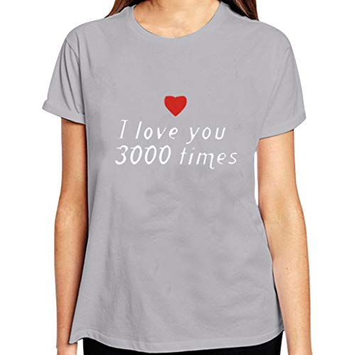 Best Gifts for Her/He, Women Men Soft T-Shirt I Love You 3000 Times Graphic Tees Short Sleeve Printing Tops - Halter Charmeuse Dress Print