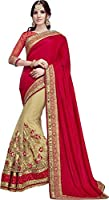 SareeShop Women's Georgette Embroidered Saree With Blouse Piece(Lakshmi-4005-SAREE01_Red_COLOUR)