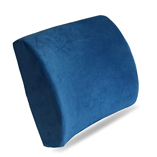 HealthClub Space Memory Foam Lumbar Support Back Cushion Waist Thickened Office Pillow for Lower Back Pain Relief - Suitable for Both Office Chair and Car Seat, Sofa, Coach, Daybed, Royal Blue, as H