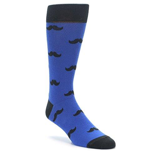 Boldsocks Mustache Moustache Men's Novelty Socks (Blue)