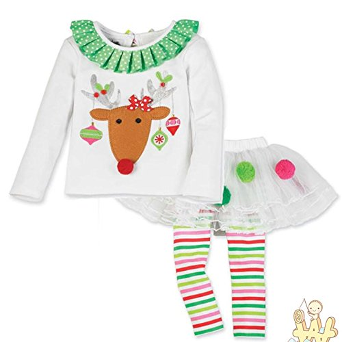 Girls Dress, Hot Sale New Baby Girls Christmas Infant Toddler Santa Elk Cake Dress 2 Pieces by Neartime (White, 1-2Y) (Girl Take Out Dress)
