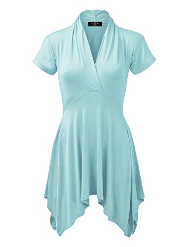 - WT1120 Womens Cross V Neck Short Sleeve Empire Line Panel Tunic Top L Aqua