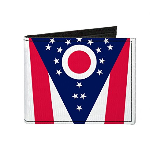 Ohio State Flag Vertical CLOSE-UP Canvas Bi-Fold Wallet Ohio Bi Fold Wallet