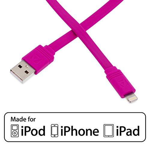 Aduro - Apple Certified / MFi - USB to Lightning FLAT Charge & Sync Cable fits all Apple Devices with Lightning...