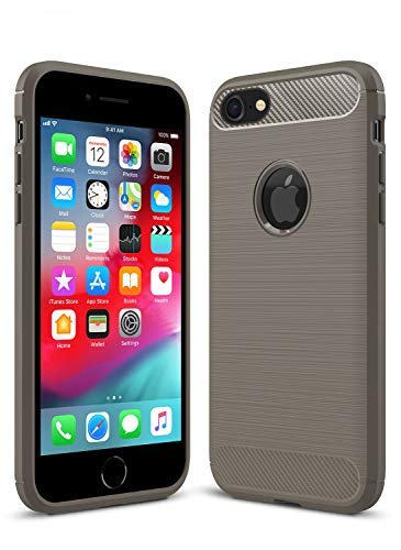 iPhone 7/8 Shockproof Silicone Light Brushed Grip Case Protective Case Cover for Apple/iPhone 8 + Screen Protector (Grey)