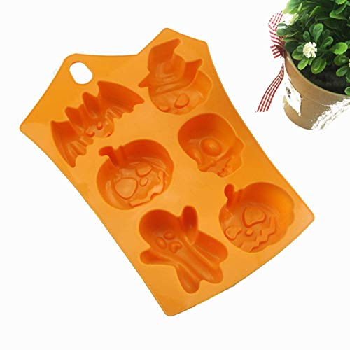 SSTQSAA Halloween Holiday Pumpkin Cake Mold 6 Cavities Pumpkin Ghost Bat Shape Chocolate Molds Cake Decorating Tools -