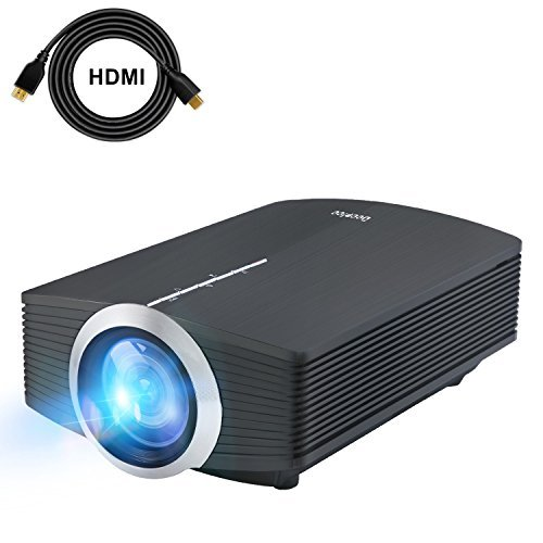DeepLee Mini Projector, 120'' Home Theater Video Projector with AV USB SD Card HDMI for Home Cinema Video Game Courtyard Movie Night Support PC Laptop PS3/PS4 Xbox Wii Projector (DP500 Black)