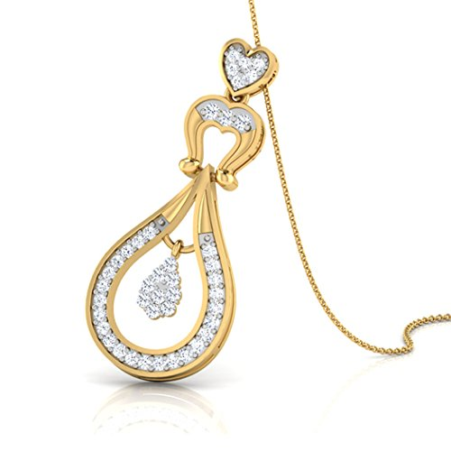 18 K Or Blanc 0.25 CT TW Round-cut-diamond (IJ | SI) Pendentif