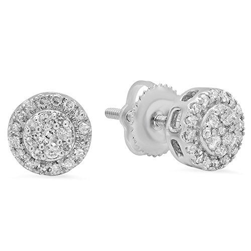 0.30 Carat (ctw) 10K White Gold Round White Diamond Ladies Circle Cluster Stud Earrings 1/3 CT (White Earrings Diamond Circle Gold)