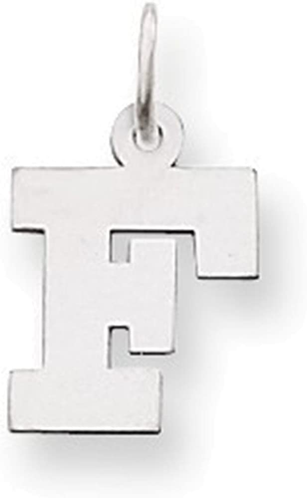 14k White Gold Small Block Initial F Charm