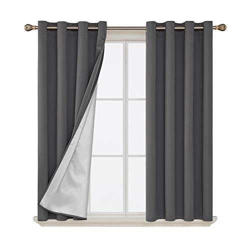 (Deconovo Blackout Curtains Energy Saving Thermal Insulated Draperies with Silver Coating Back Window Decorative Drapes for French Doors 52W x 63L Inch Dark Grey 2 Panels)