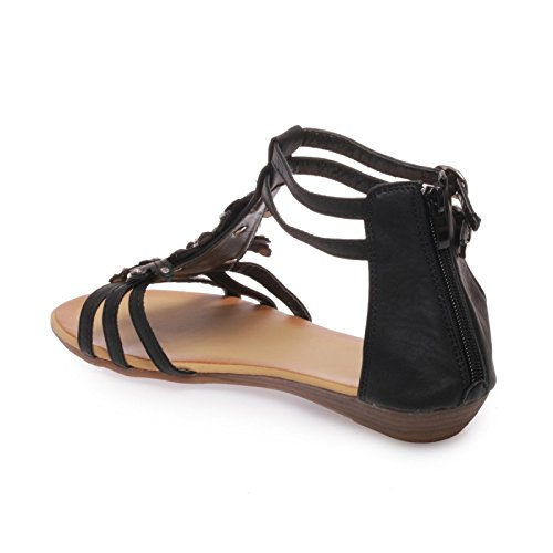 La Modeuse-Sandalias para mujer talla grande Negro - negro