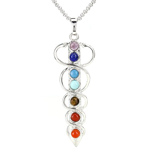 """Price comparison product image BEADNOVA 7 Chakras Healing Pointed Crystal Chakra Reiki Holy Sword Gemstones Pendent Necklace Stainless Steel Chain 18"""""""