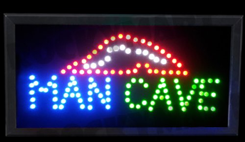 """Man Cave LED Light Up Sign 19.5""""x10""""x1.25"""" for Party Room, B"""