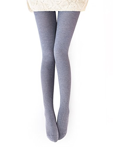 Vero Monte 1 Pair Womens Wool Blend Ribbed Tights Opaque Knit Tights(Light Grey) (Ribbed Wool Blend)