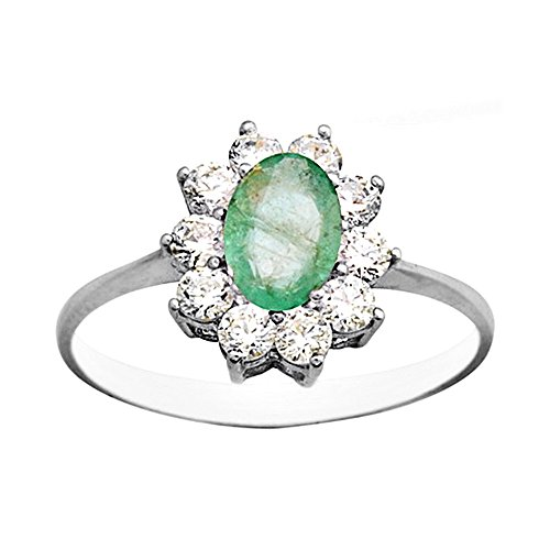 Bague 18k or blanc Emerald centre de 7x5mm. zircons [AA6946]