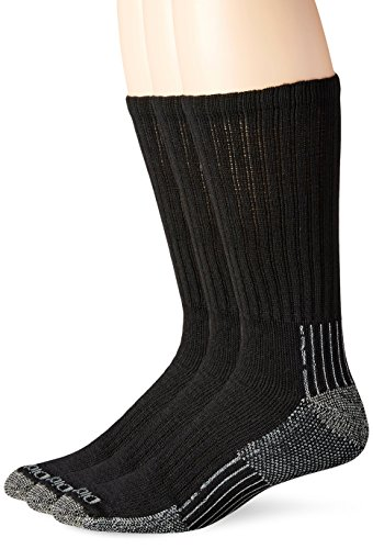 Dickies Men's Big-Tall 3 Pack Heavyweight Cushion with Compression Crew Socks, Black, 13-15 Sock/12-15 Shoe (Boot Heavyweight Mens Sock)