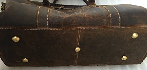 KomalC Genuine Leather Duffel   Travel Overnight Weekend Leather Bag   Sports Gym Duffel For Men by KomalC (Image #4)