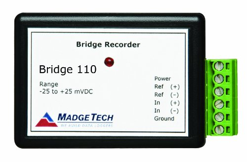 MadgeTech Bridge110-100mV-CERT Differential Input, Bridge/Strain Gauge Data Logger, ± 150 mV Measurement Range, 5 V Resolution, with N.I.S.T. Certificate -