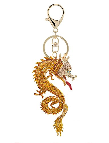 - 1 Pc Mini Pocket Golden Dragon Crystal Keychain Keyring Keyfob Animal Dinosaur Pendant Keys Chains Rings Tags Strap Wrist Worthy Popular Cute Wristlet Utility Keyrings Tool Teenagers Teen Girls Gift