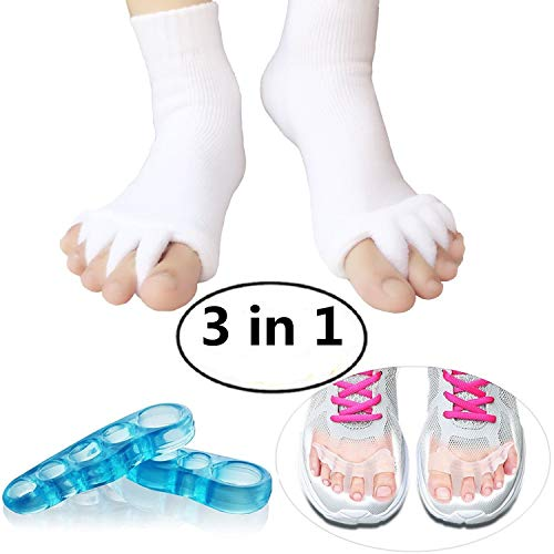 Toe Separators Set - 1 Pair, Toes Alignment Socks, Gel Toe Spacers Toe Stretchers, Instant Therapeutic Bunion Relief for Women and Men (White) (Best Socks For Bunions)