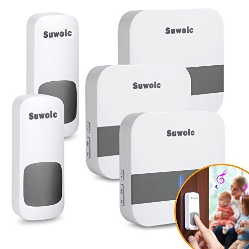 Waterproof Wireless Doorbell for Home with 2 Remote Button and 3 Plugin Receiver by Suwoic, Waterproof Transmitters, No Battery Required Receivers, 52 Chimes, 1000 Feet Operating