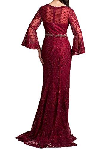2018 Ballkleider Damen Charmant Abendkleider Meerjungfrau Promkleider Weinrot Neu Langarm Elegant Partykleider Brautmutter mit qBZ5w65W