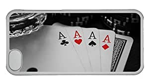 Hipster carry iPhone 5C case aces poker cards PC Transparent for Apple iPhone 5C