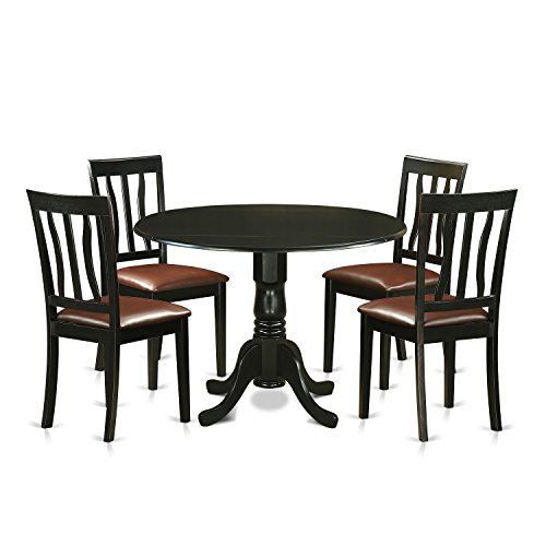 East West Furniture DLAN5-BLK-LC 5 Piece with 4 Solid Wood Chairs, Buttermilk Finish
