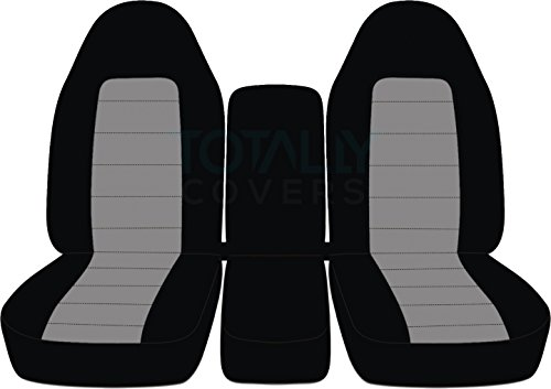Totally Covers Fits 1994-2002 (2nd Gen) Dodge Ram Two-Tone Truck Seat Covers (40/20/40 Split Bench) w Center Console - Front: Black & Gray 1995 1996 1997 1998 1999 2000 2001 w/wo Integrated Belts (Split Bench Seat 2nd)