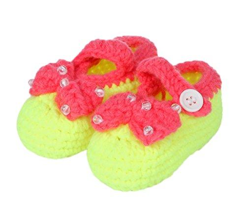 Tricô Sapato Um Tamanho Sapatos Bigood Tricô Bebê Unisex Doce Padrão 11 Centímetros Fita Amarela