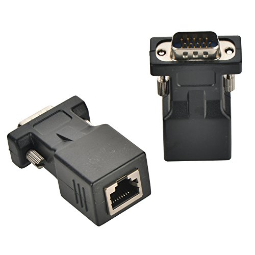 Optimal Shop VGA Extender Adapter,Optimal Shop 2 Pack VGA15 Pin Male to RJ45 Adapter Extender over Cat5 Cat6 Ethnernet Cable (65ft/20m) ()
