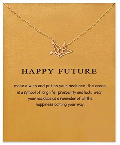 - LOVEACH Simple and Stylish Paper Crane Pendant Clavicle Necklace with Message Card Gift Card