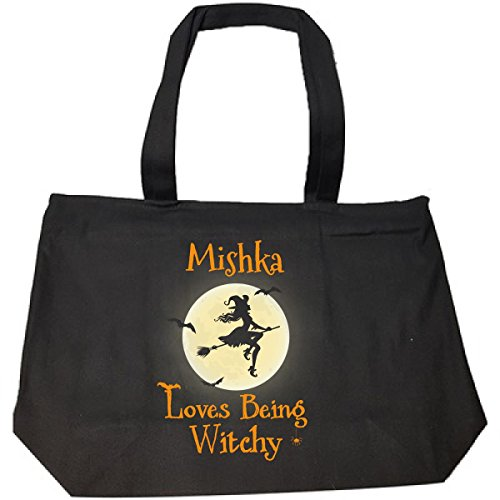 Mishka Loves Being Witchy Halloween Gift - Tote Bag With Zip