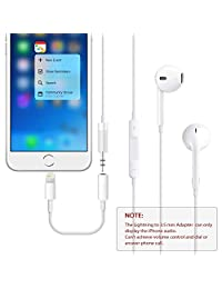(Apple MFi Certified) iPhone Headphone Adapter, Lightning to 3.5mm Headphone Jack Adapter, Strong Built Clear and Crisp Audio Compatible iPhone 11 XS XR X 8 7 Support iOS 12 & Music Control &  ing