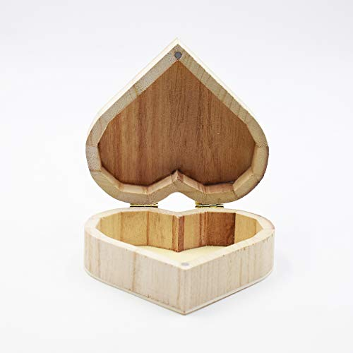 Xeminor Wooden Storage Case Durable Wooden Trinket Box Heart Trinket Box Plain Wooden Case Wooden Crafts Case for Trinket Jewellery Gift 1 Pcs by Xeminor (Image #2)