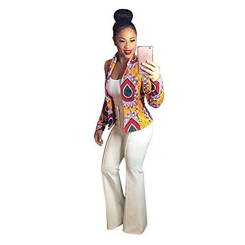 Yellow Vinyl Shelf Guides - HGWXX7 Women's Dashiki Fashion African Style Print Long Sleeve Slim fit Casual Coats Short Jackets(Yellow,M)