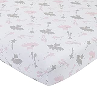 NoJo Ballerina Bows 100% Cotton Fitted Crib Sheet, Pink/Silver/White