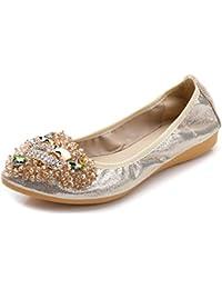 Plus Size 43 New Handmade Beads Rhinestone Pointed Toe Women Flat Shoes Pu Leather Slip On